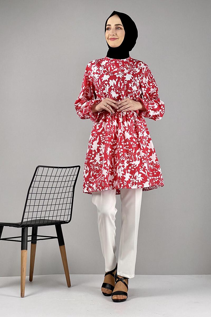 Moda Pinhan - Desenli Tunik Kırmızı (1)