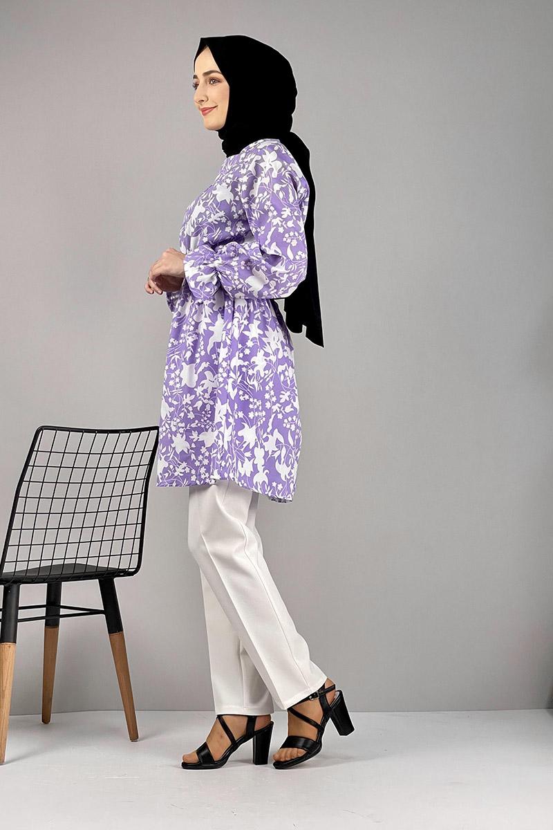 Moda Pinhan - Desenli Tunik Lila (1)
