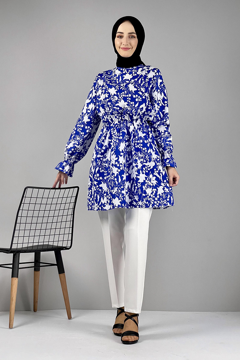 Moda Pinhan - Desenli Tunik Mavi (1)