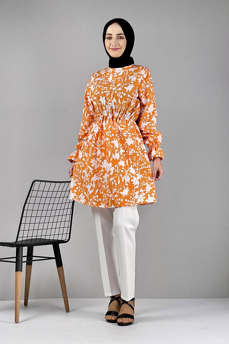 Moda Pinhan - Desenli Tunik Oranj (1)