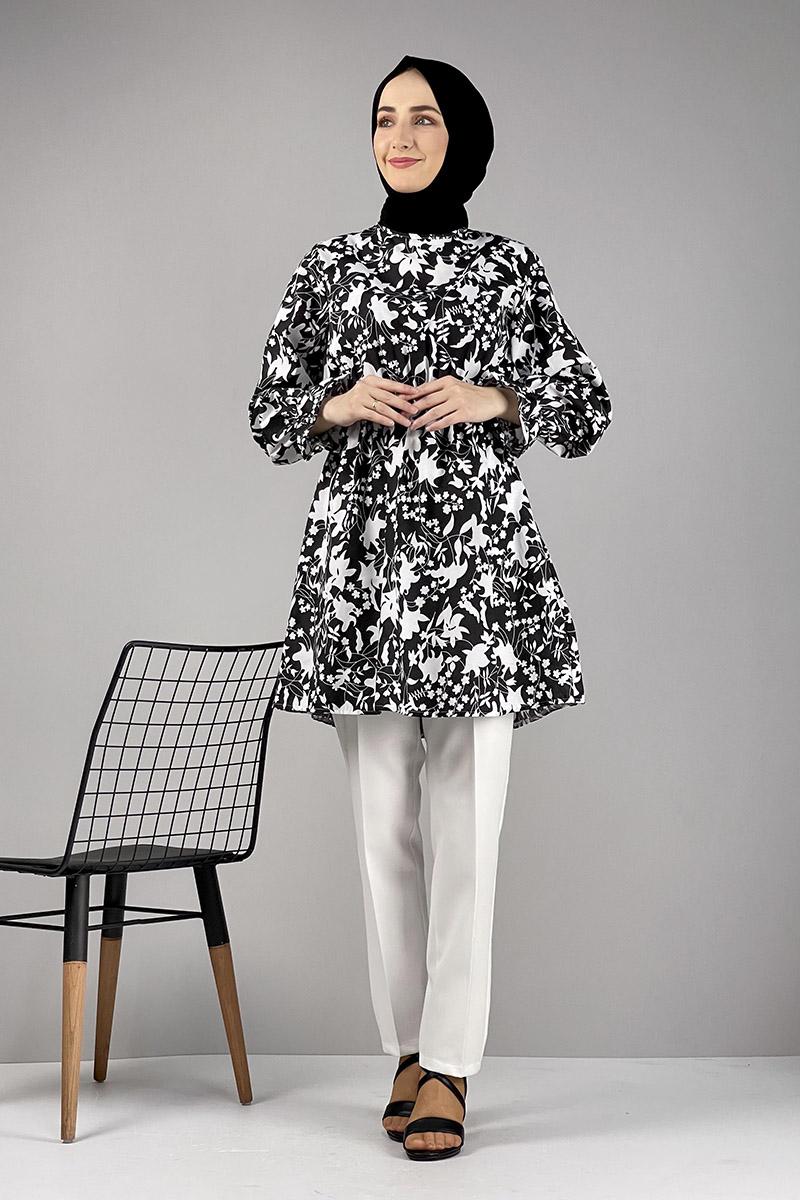 Moda Pinhan - Desenli Tunik Siyah (1)