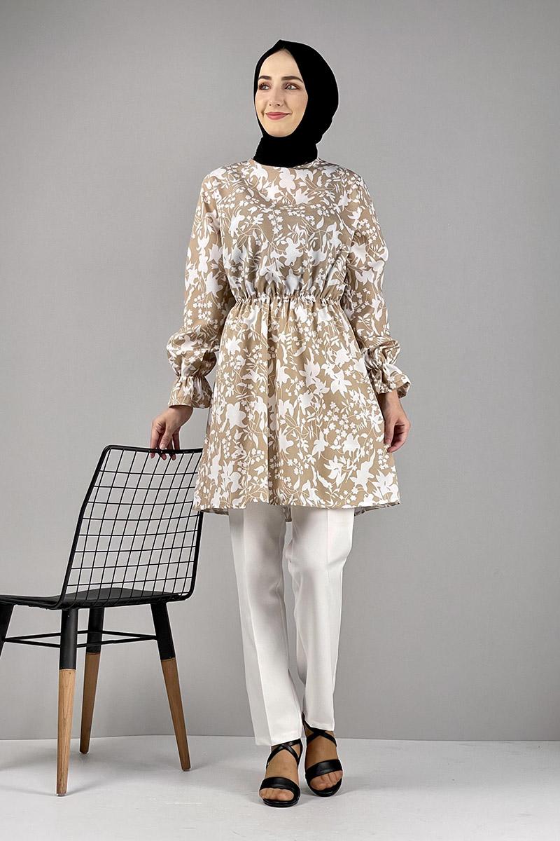 Moda Pinhan - Desenli Tunik Vizon (1)