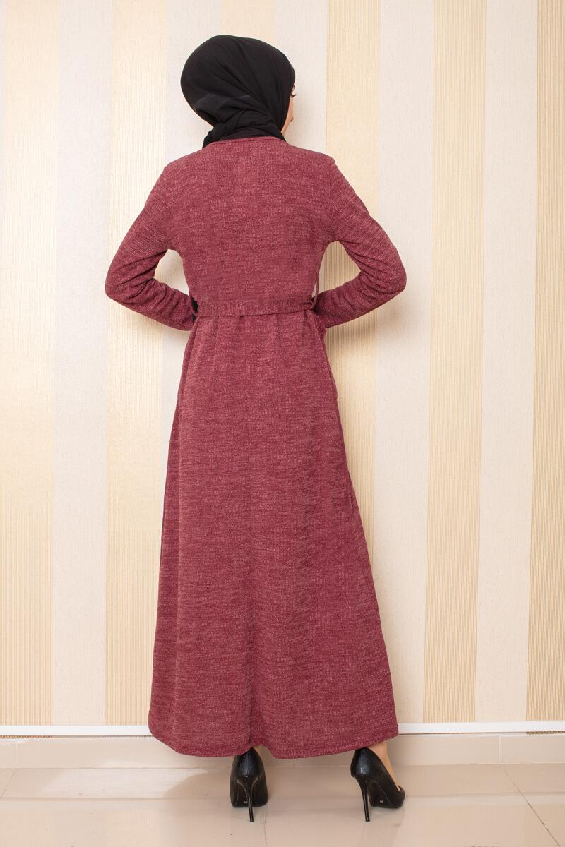 Düğme Detaylı Cepli Triko Elbise Bordo