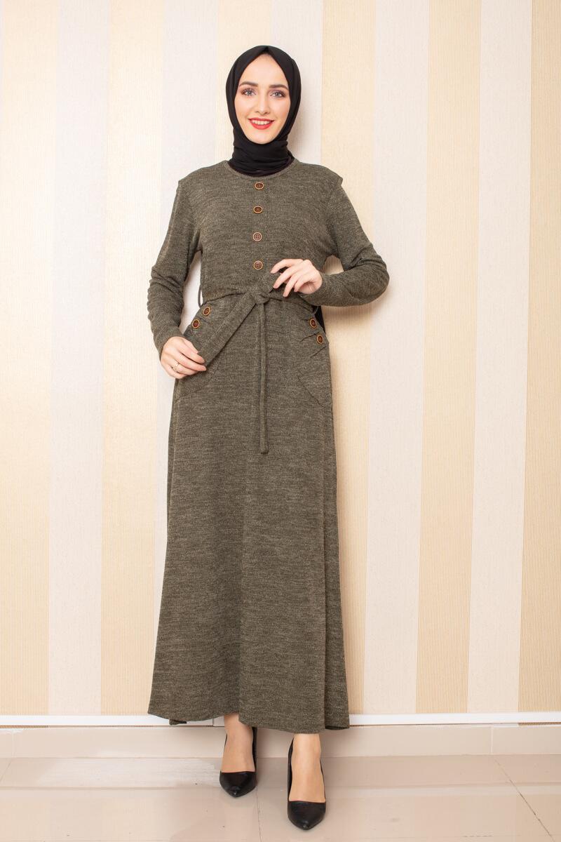 Düğme Detaylı Cepli Triko Elbise Haki - Thumbnail