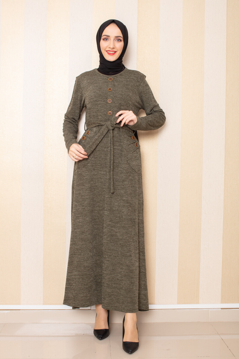 Düğme Detaylı Cepli Triko Elbise Haki