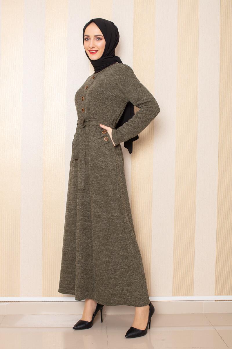 Moda Pinhan - Düğme Detaylı Cepli Triko Elbise Haki (1)