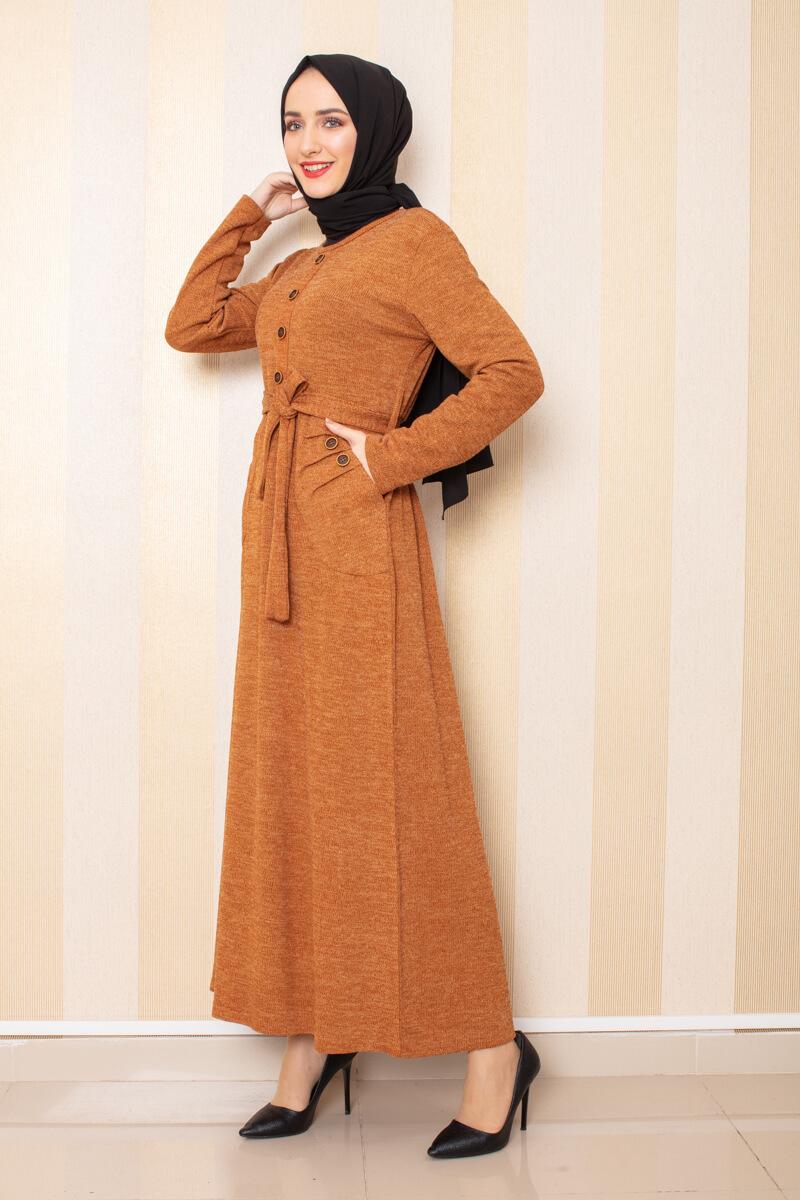 Moda Pinhan - Düğme Detaylı Cepli Triko Elbise Hardal (1)