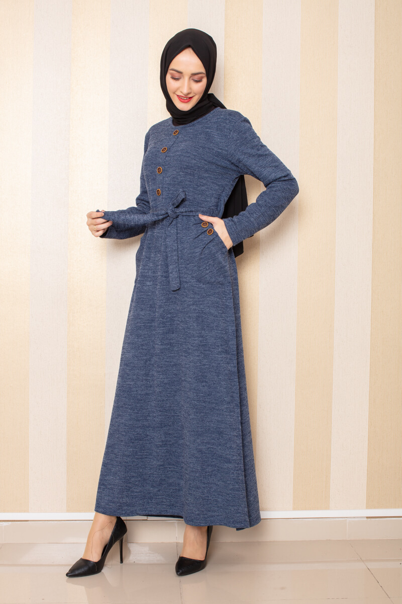 Moda Pinhan - Düğme Detaylı Cepli Triko Elbise İndigo (1)