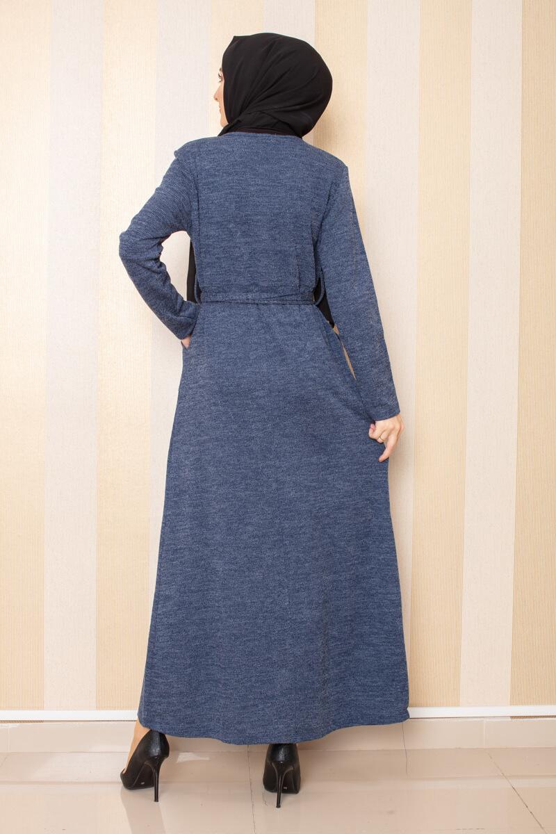 Düğme Detaylı Cepli Triko Elbise İndigo - Thumbnail