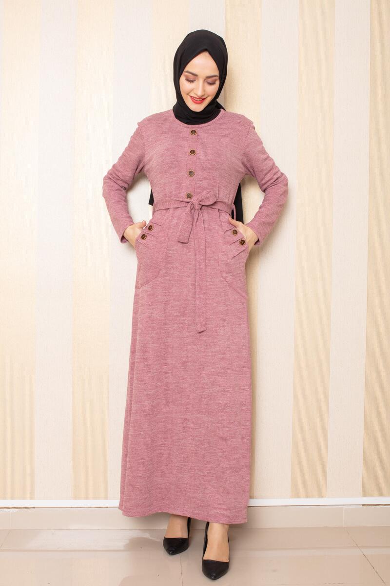Moda Pinhan - Düğme Detaylı Cepli Triko Elbise Pudra (1)