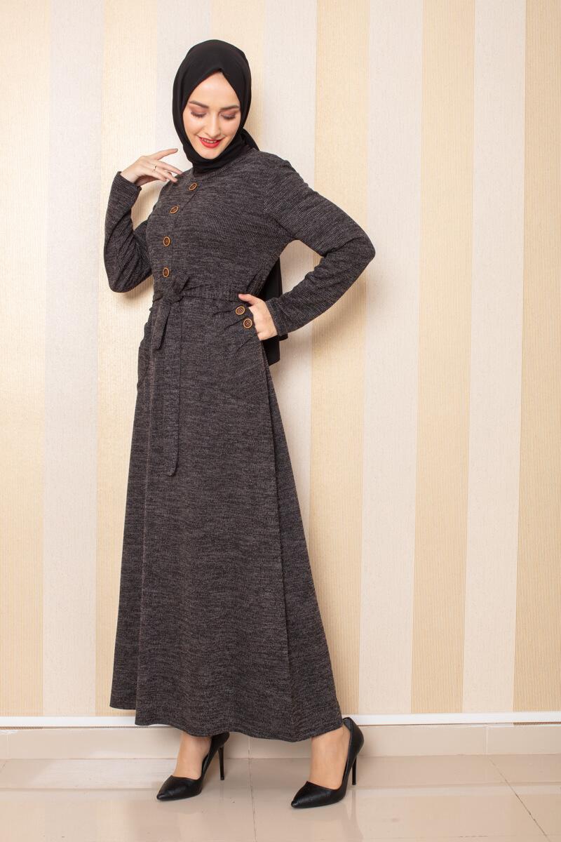 Moda Pinhan - Düğme Detaylı Cepli Triko Elbise Siyah (1)