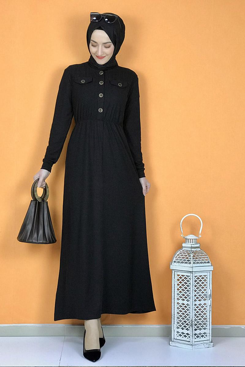 Düğme Detaylı Elbise Siyah