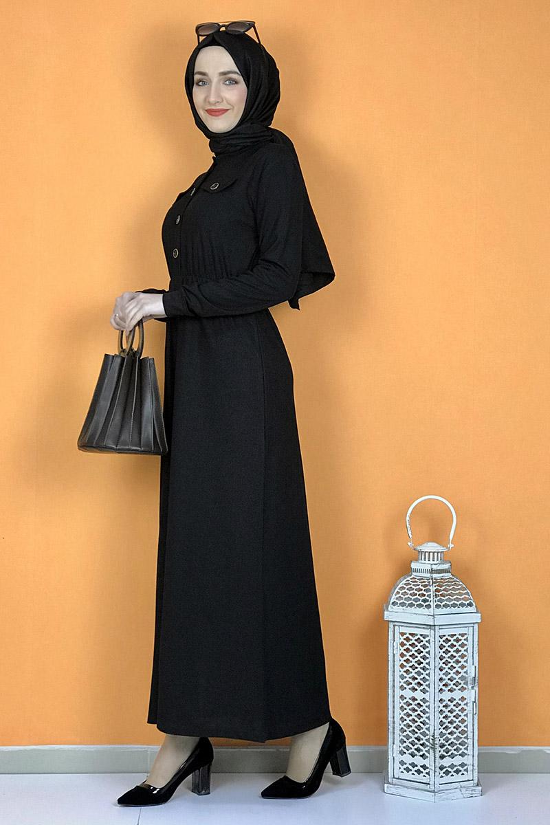 Düğme Detaylı Elbise Siyah - Thumbnail