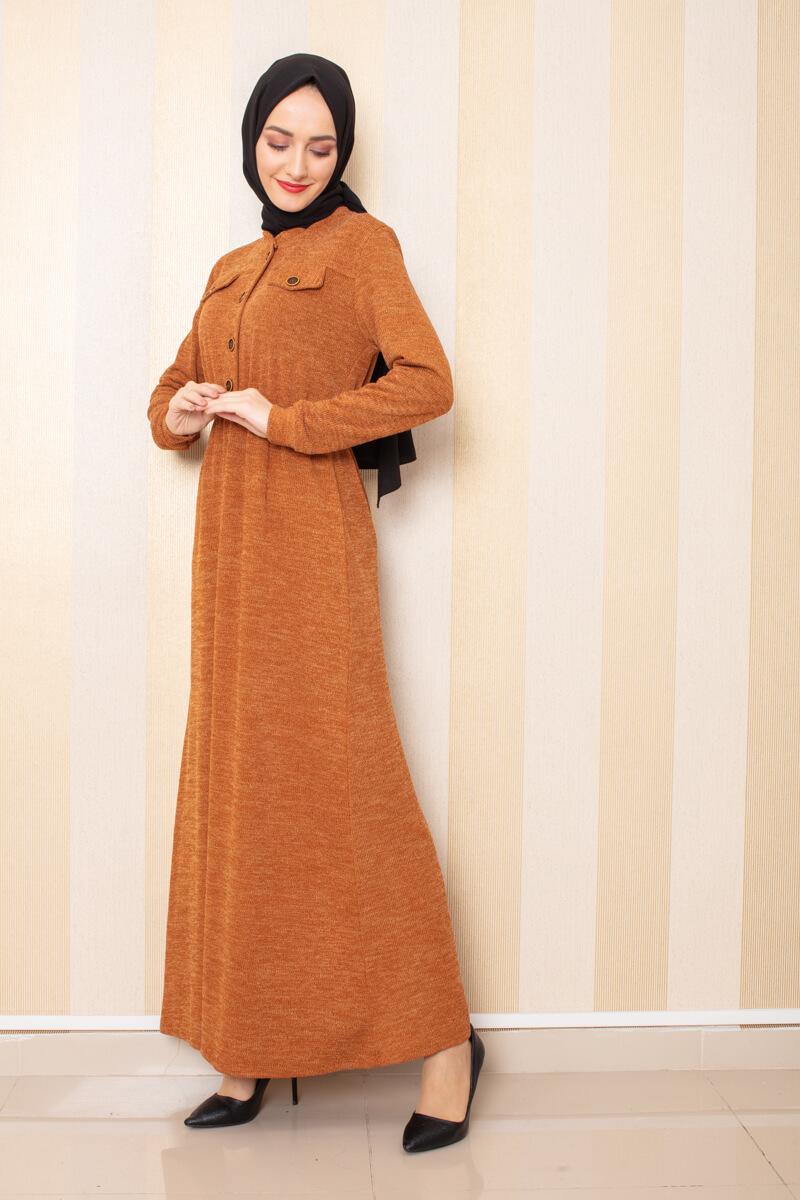 Moda Pinhan - Düğme Detaylı Triko Elbise Hardal (1)