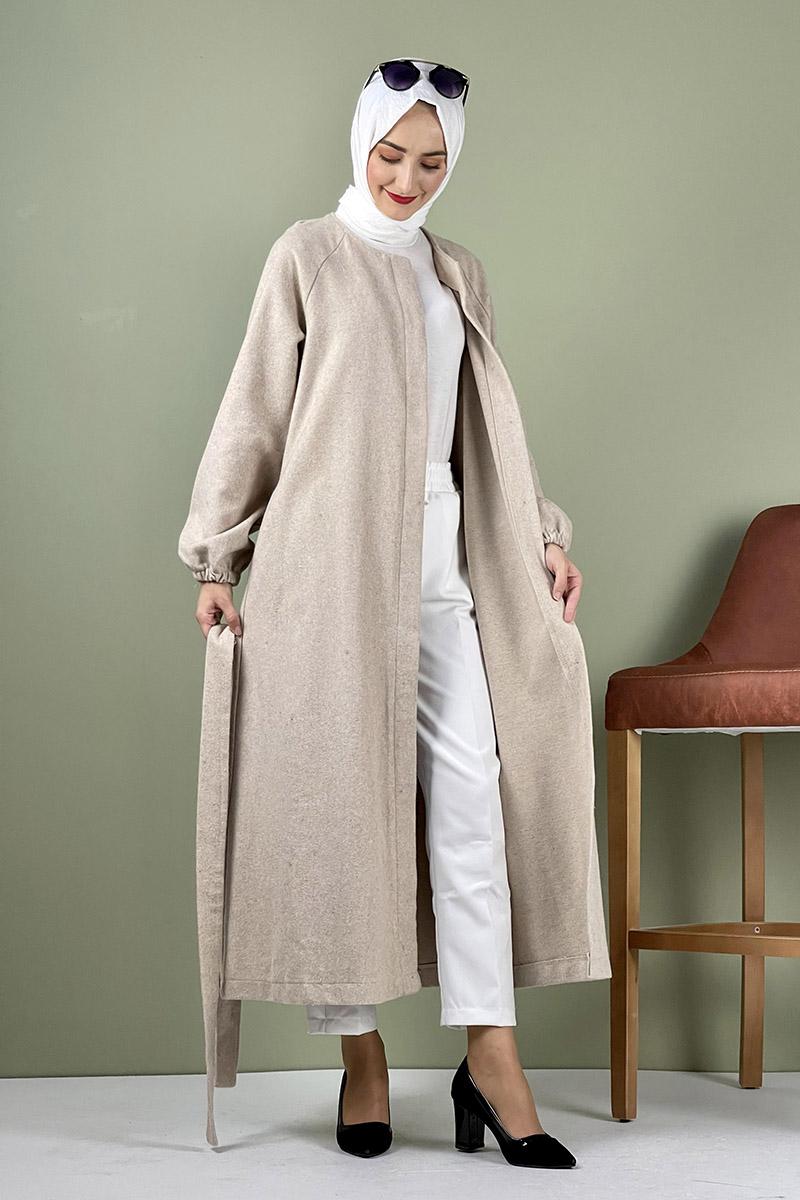 Moda Pinhan - Düğmeli Kaşe Kap Taş (1)