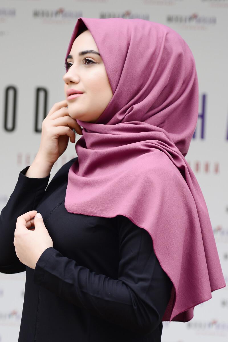Moda Pinhan - Düz Krep Şal Gül Kurusu (1)