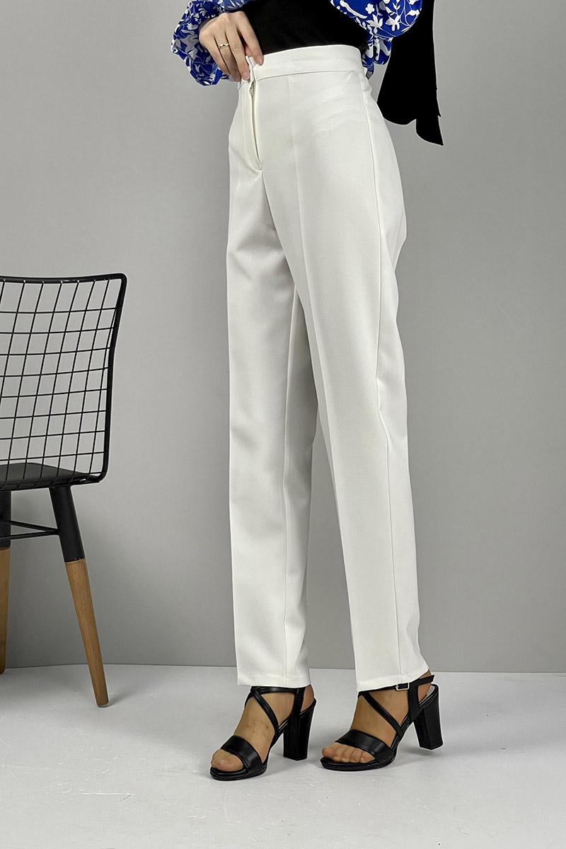 Moda Pinhan - Düz Paça Pantolon Beyaz (1)