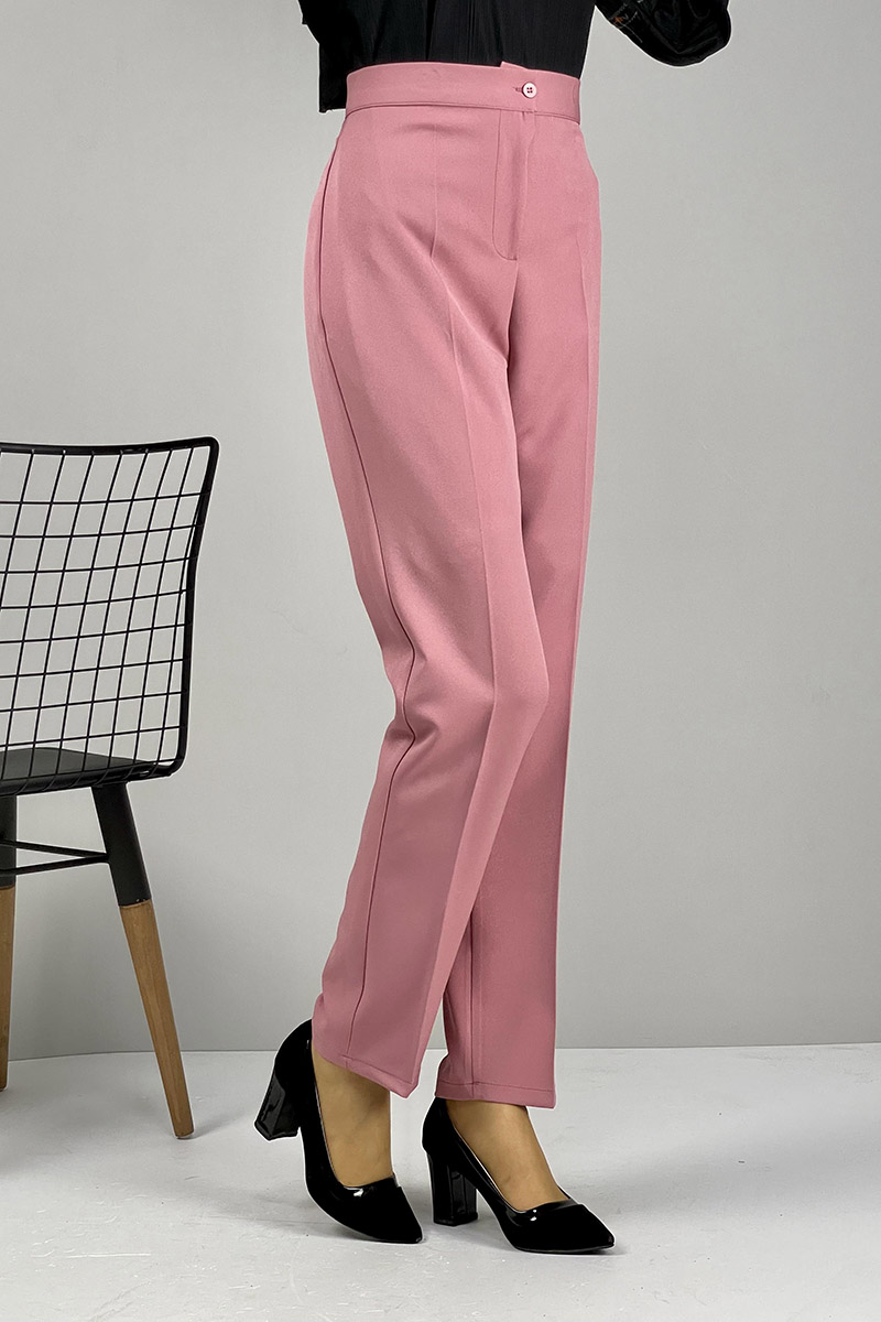 Moda Pinhan - Düz Paça Pantolon Gül Kurusu (1)
