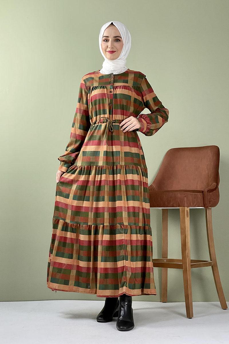 Moda Pinhan - Ekose Kadife Elbise Yeşil (1)