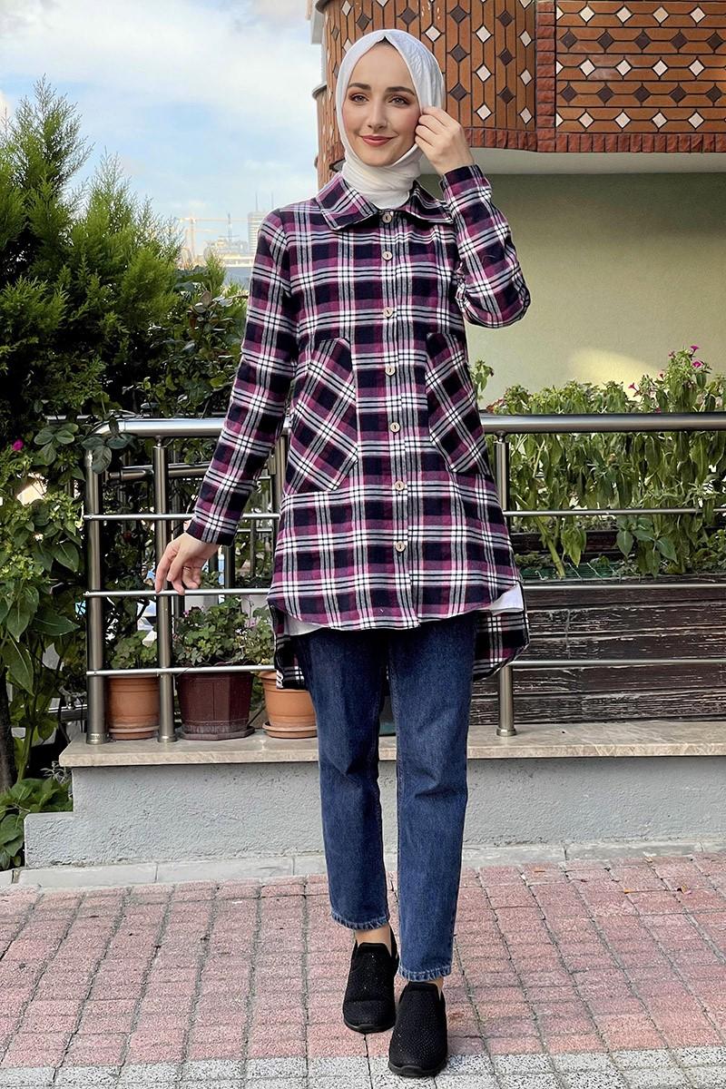 Moda Pinhan - Ekose Tunik Mor (1)
