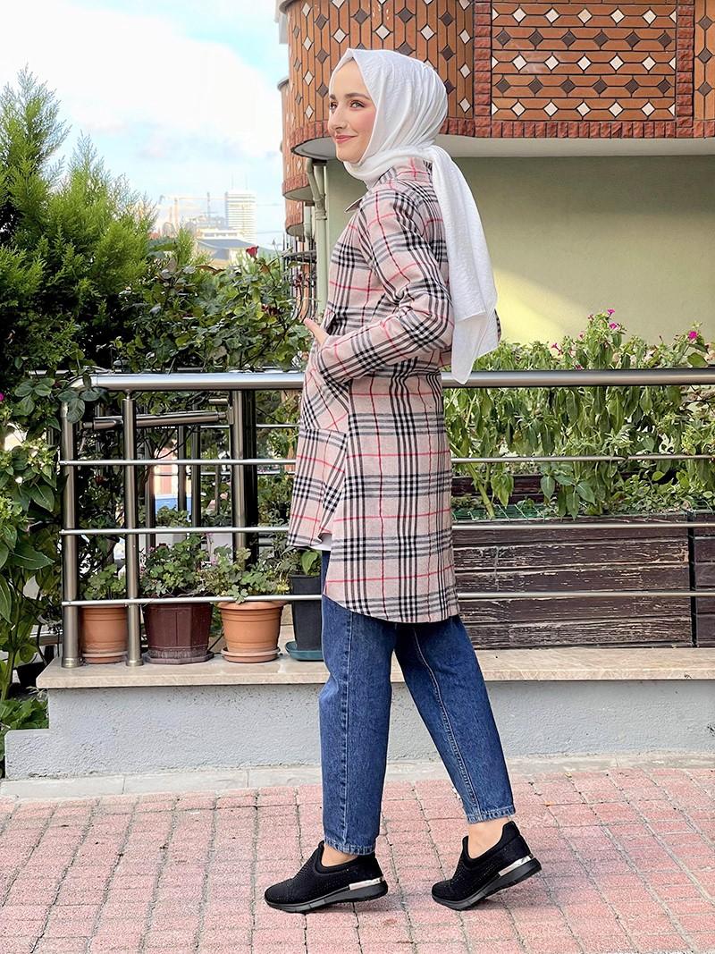 Moda Pinhan - Ekose Tunik Vizon (1)