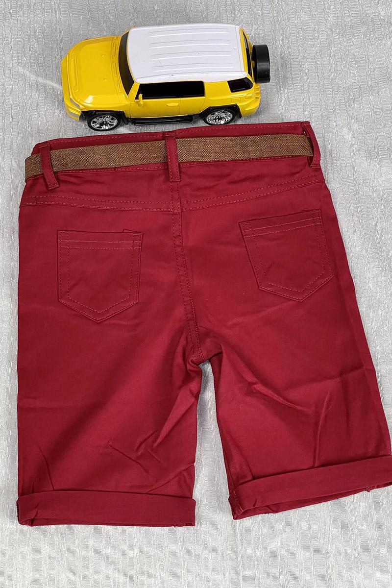 Moda Pinhan - Erkek Çocuk Şort Kırmızı (1)