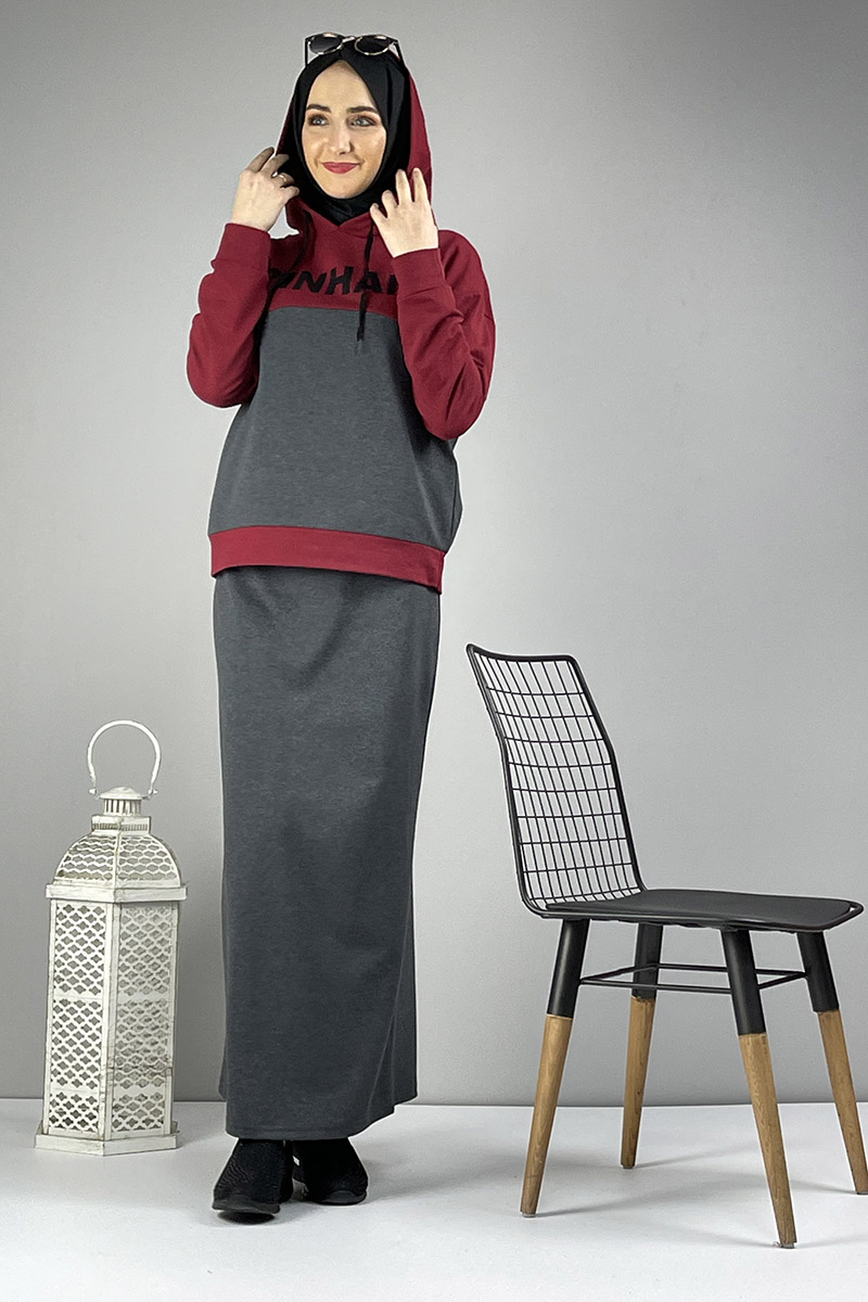 Moda Pinhan - Etekli Tesettür Takım Antrasit Bordo (1)