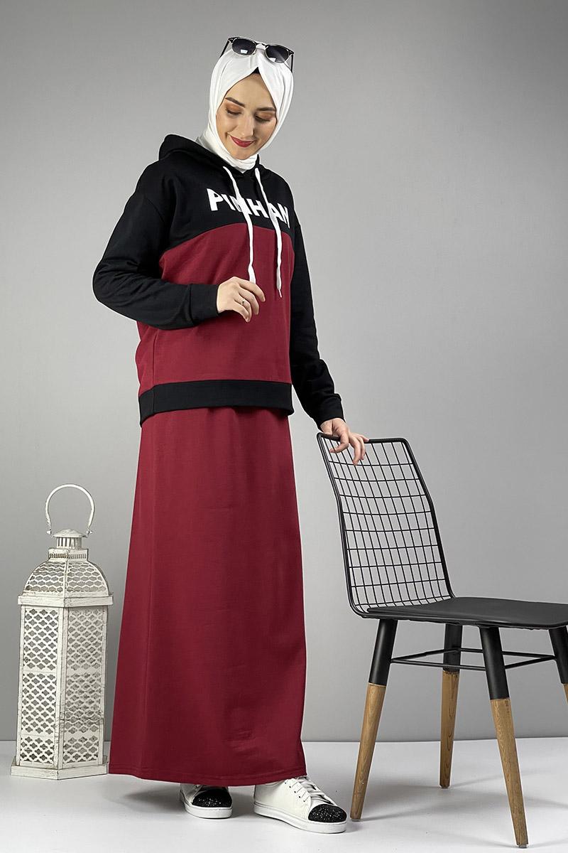 Moda Pinhan - Etekli Tesettür Takım Bordo Siyah (1)