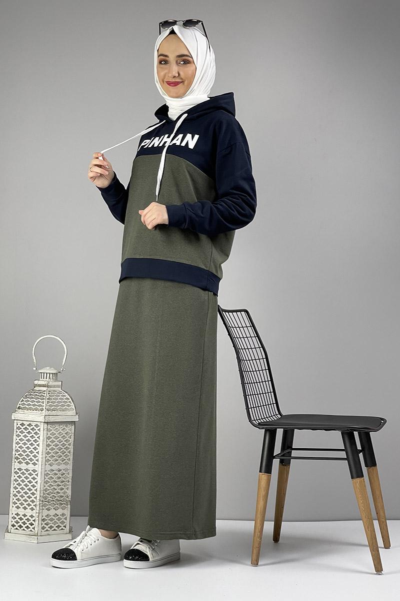 Moda Pinhan - Etekli Tesettür Takım Haki Lacivert (1)