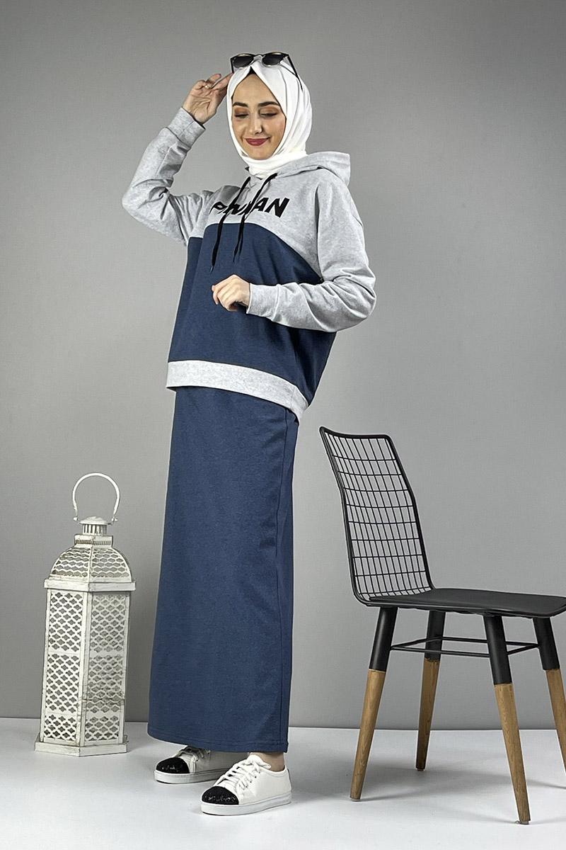 Moda Pinhan - Etekli Tesettür Takım İndigo Gri (1)