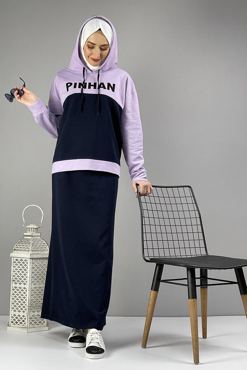 Moda Pinhan - Etekli Tesettür Takım Lacivert Lila (1)