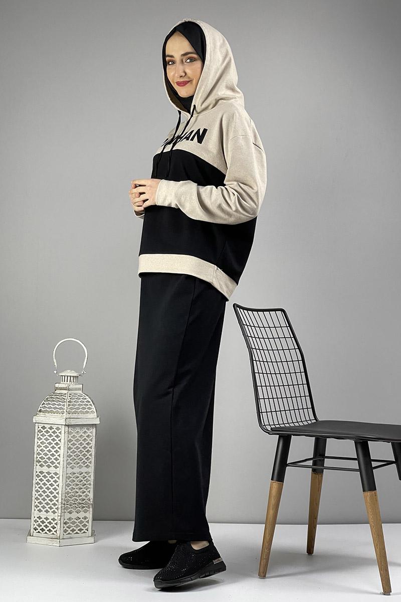 Moda Pinhan - Etekli Tesettür Takım Siyah Vİzon (1)