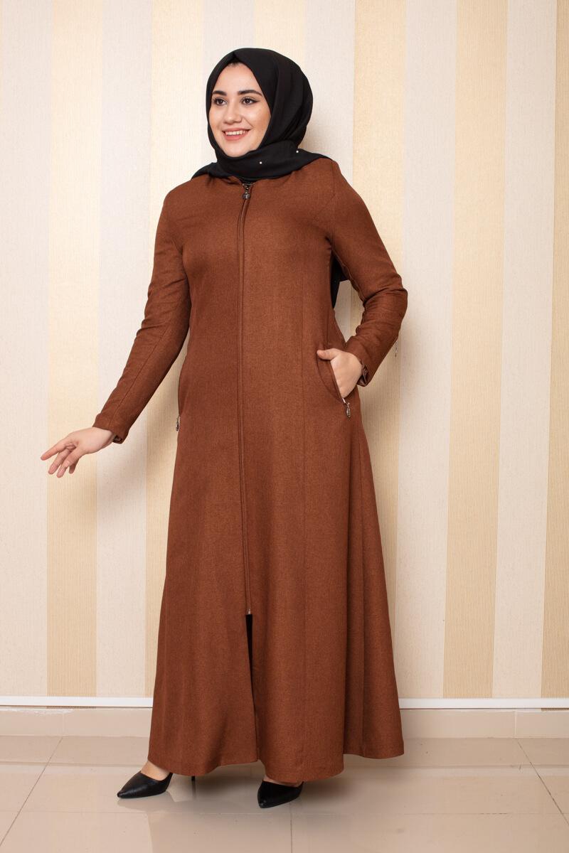 Moda Pinhan - Fermuar Detaylı Ferace Taba (1)