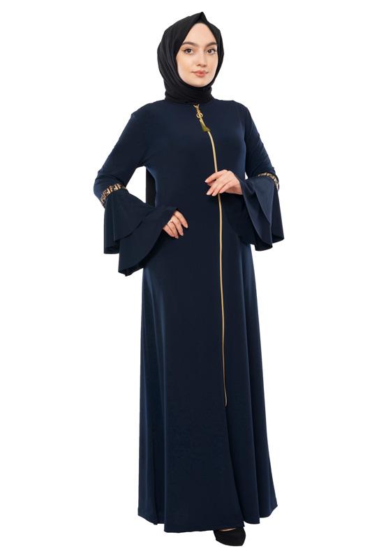 Moda Pinhan - Fermuarlı Ferace Sandy Lacivert (1)