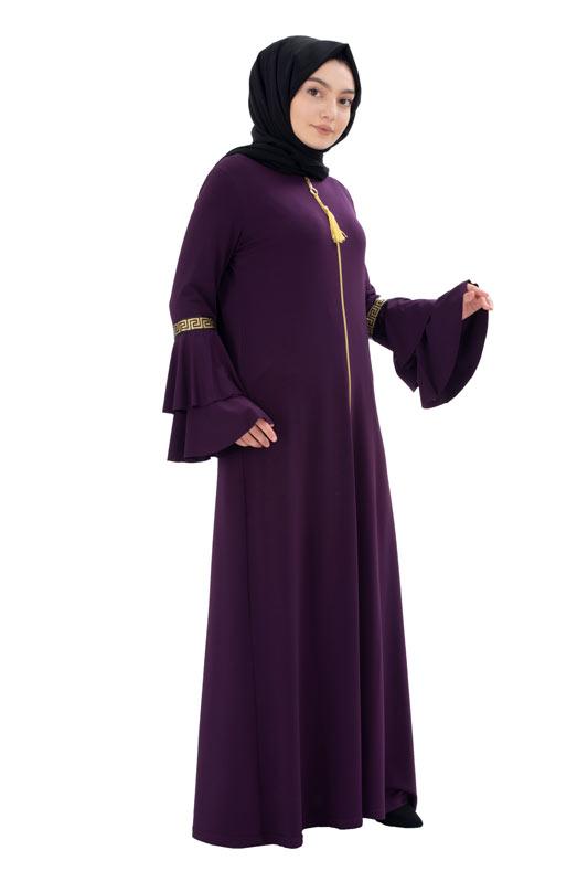 Moda Pinhan - Fermuarlı Ferace Sandy Mor (1)