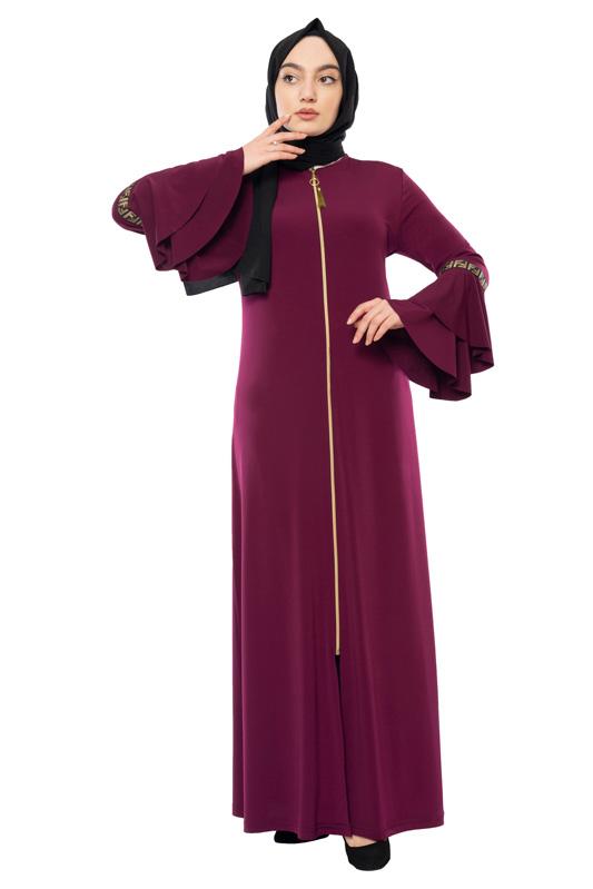 Moda Pinhan - Fermuarlı Ferace Sandy Vişne (1)