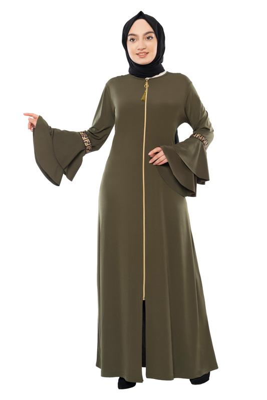 Moda Pinhan - Fermuarlı Ferace Sandy Yeşil (1)