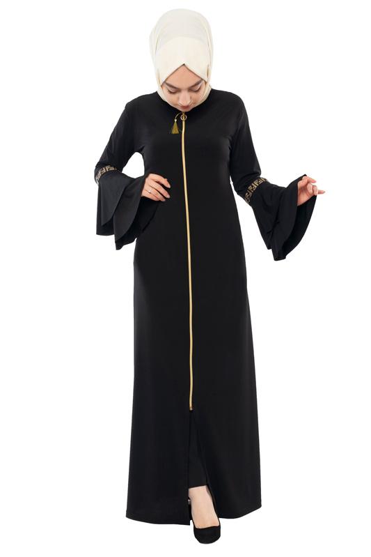 Moda Pinhan - Fermuarlı Ferace Sandy Siyah (1)