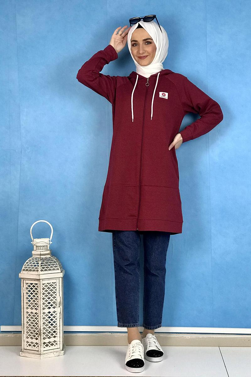 Moda Pinhan - Fermuarlı Kap Bordo (1)