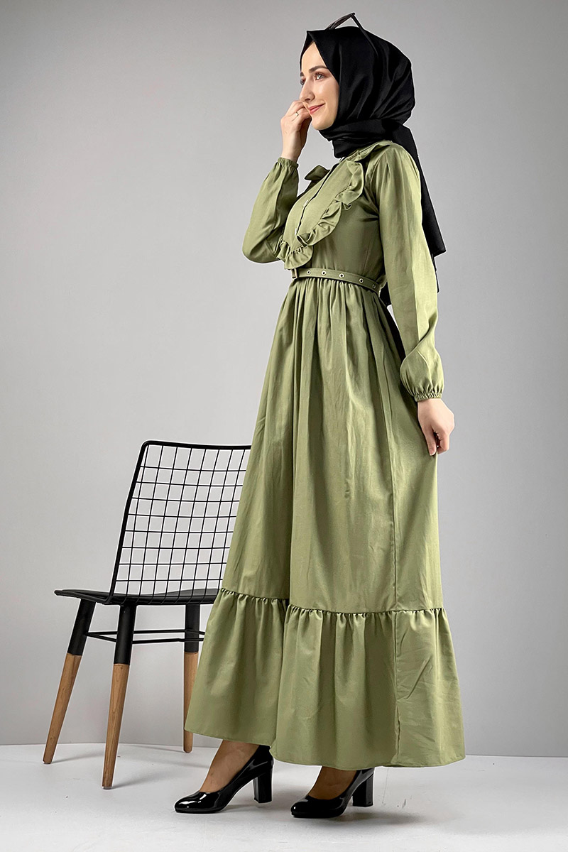 Moda Pinhan - Fırfırlı Elbise Fıstık Yeşili (1)
