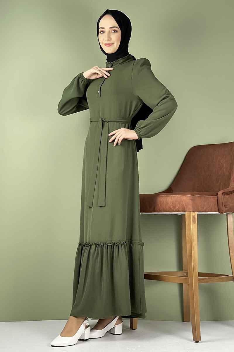Moda Pinhan - Fırfırlı Elbise Haki (1)