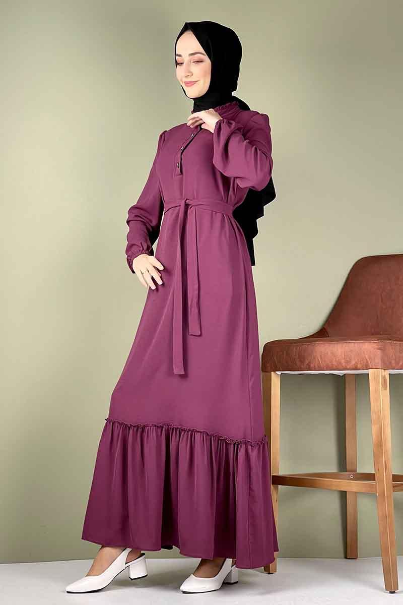 Moda Pinhan - Fırfırlı Elbise Mürdüm (1)