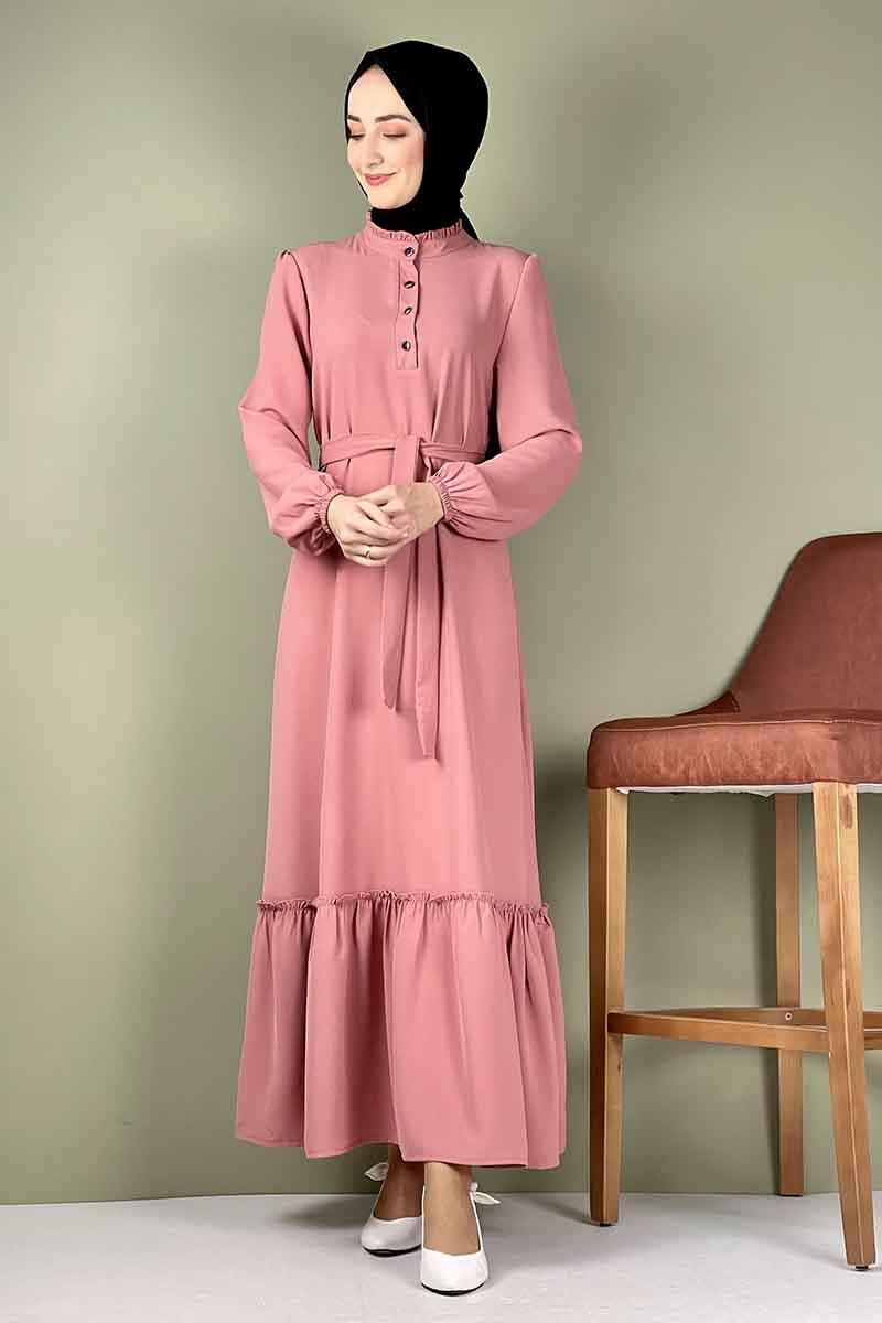 Moda Pinhan - Fırfırlı Elbise Pudra (1)