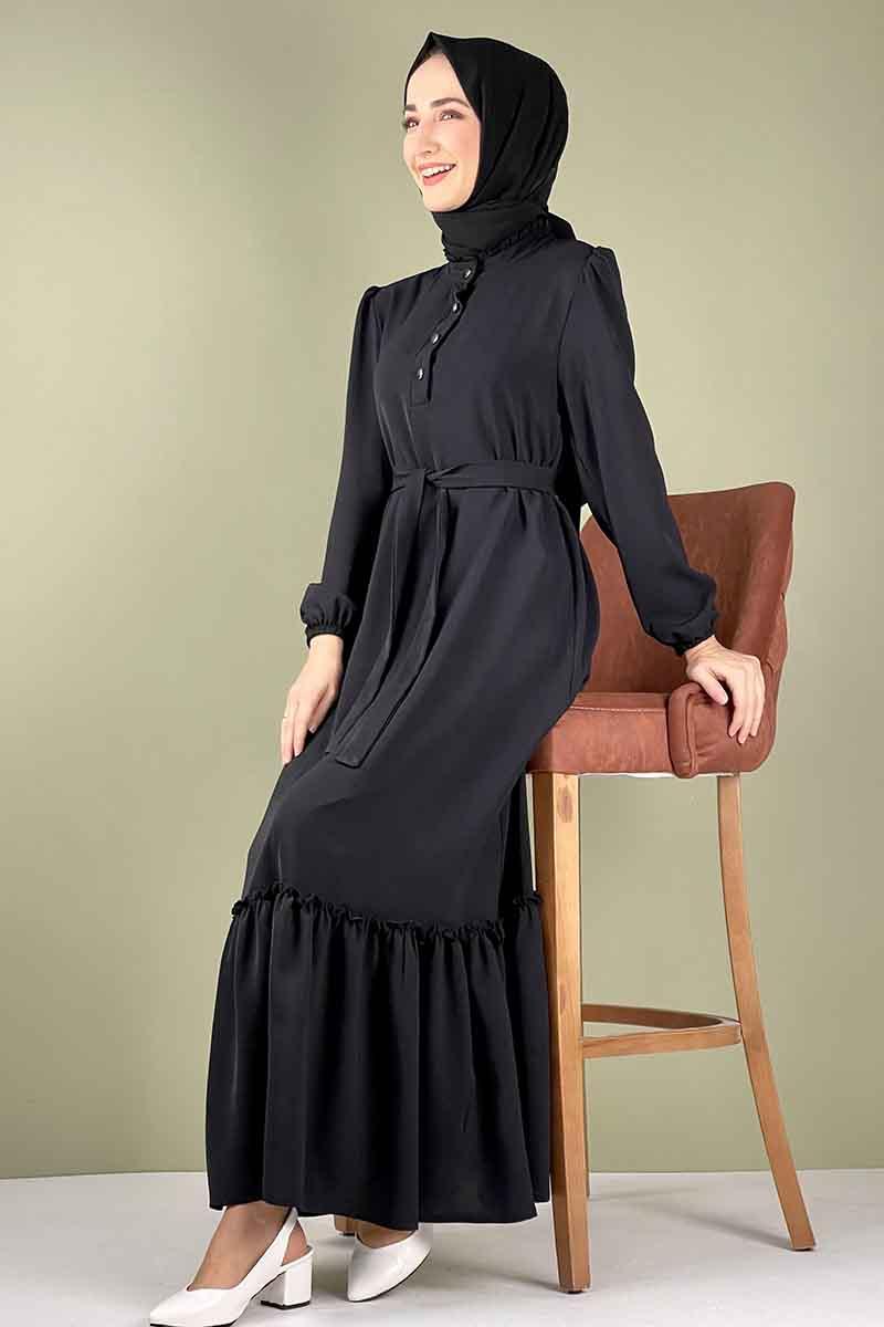 Moda Pinhan - Fırfırlı Elbise Siyah (1)