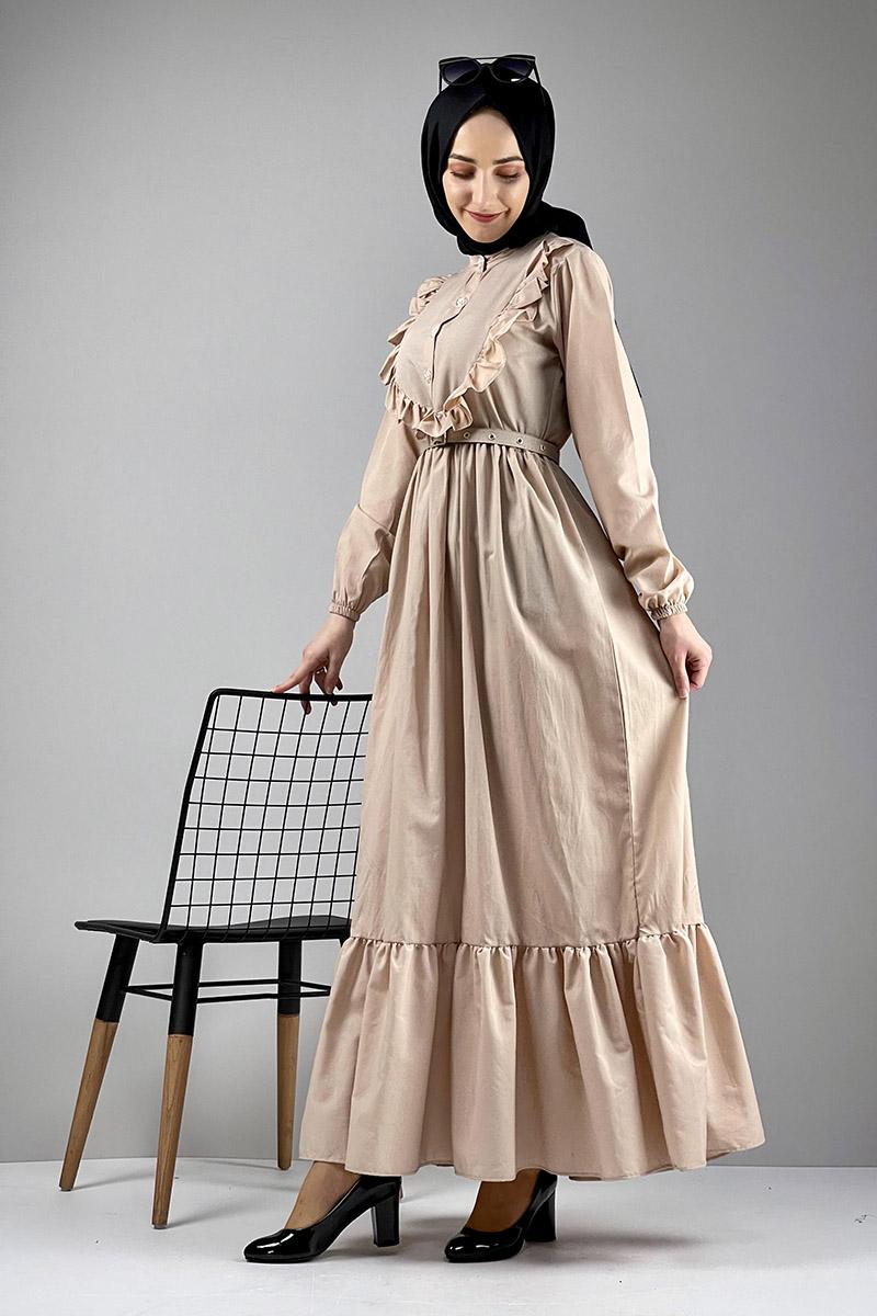 Moda Pinhan - Fırfırlı Elbise Vizon (1)