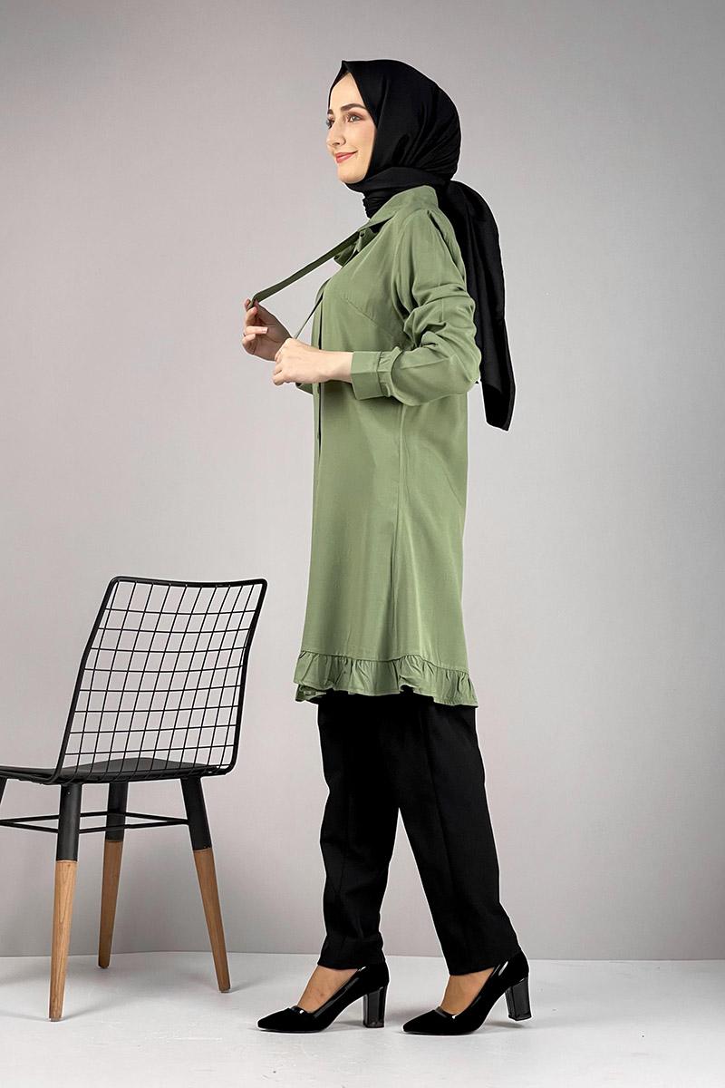 Moda Pinhan - Fırfırlı Tunik Çağla Yeşili (1)