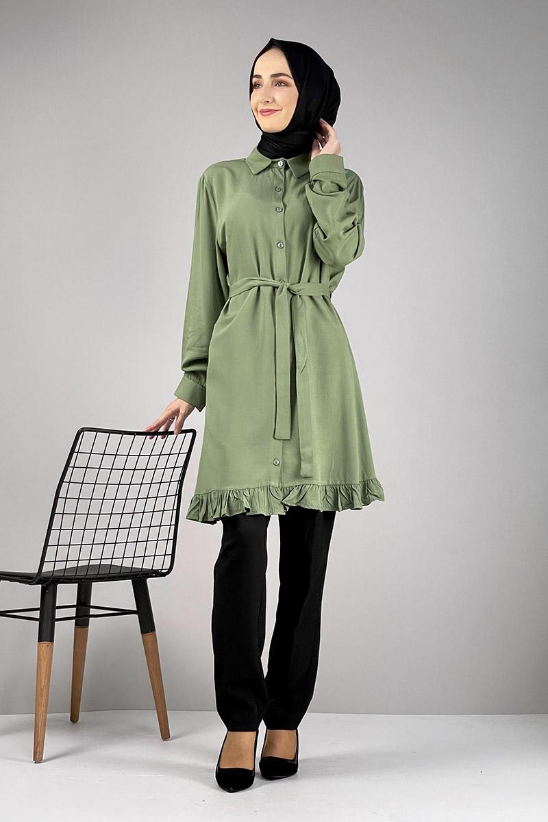 Fırfırlı Tunik Çağla Yeşili - Thumbnail