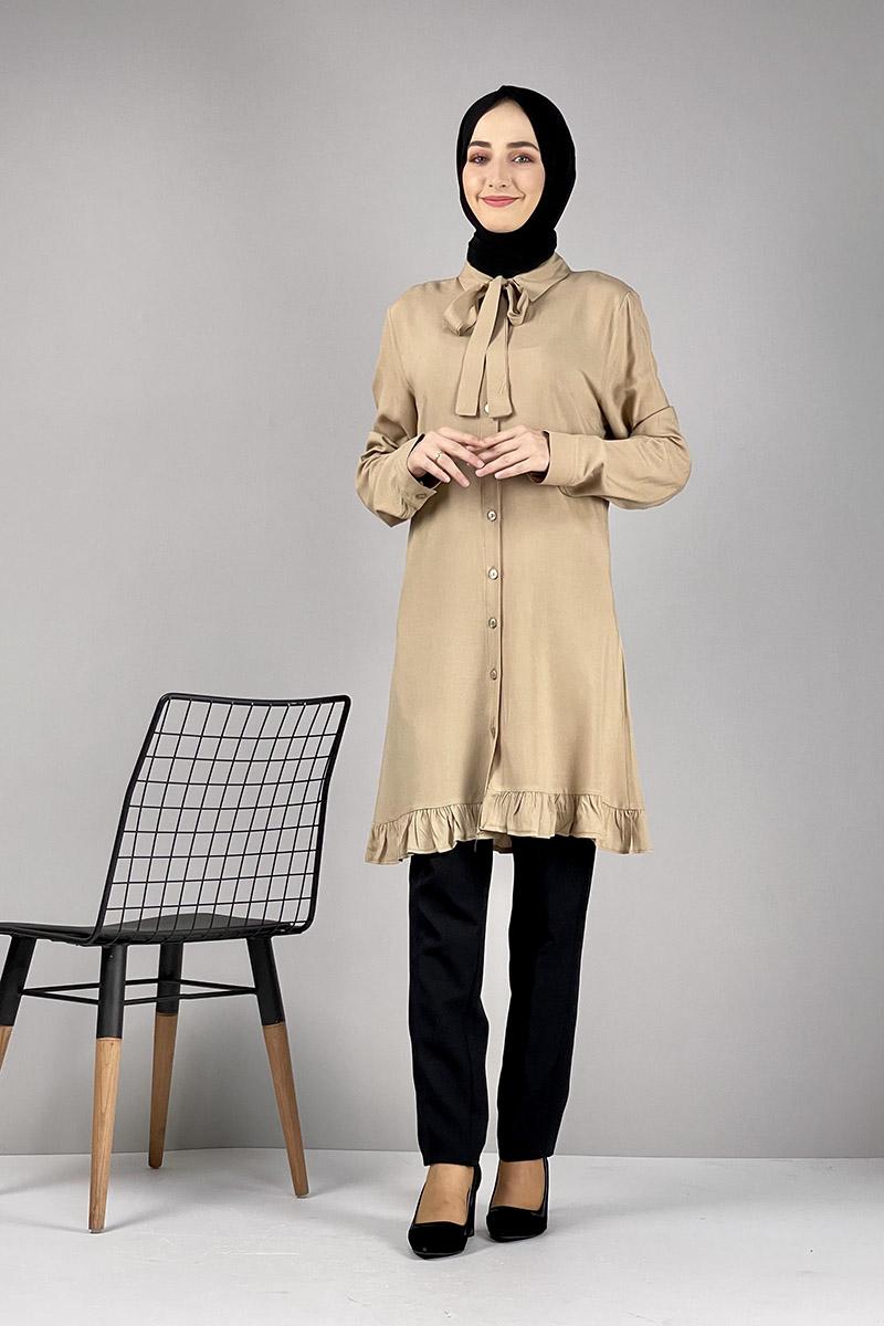 Moda Pinhan - Fırfırlı Tunik Camel (1)