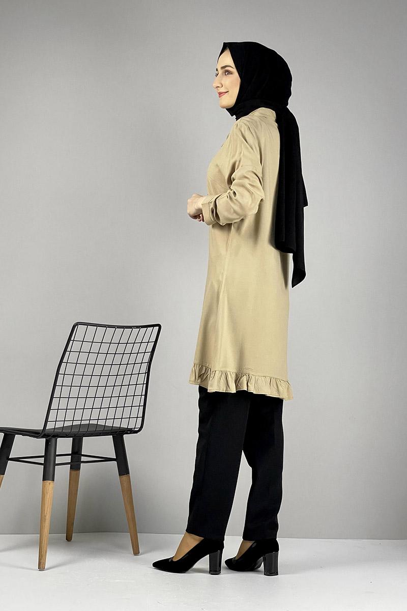 Fırfırlı Tunik Camel - Thumbnail