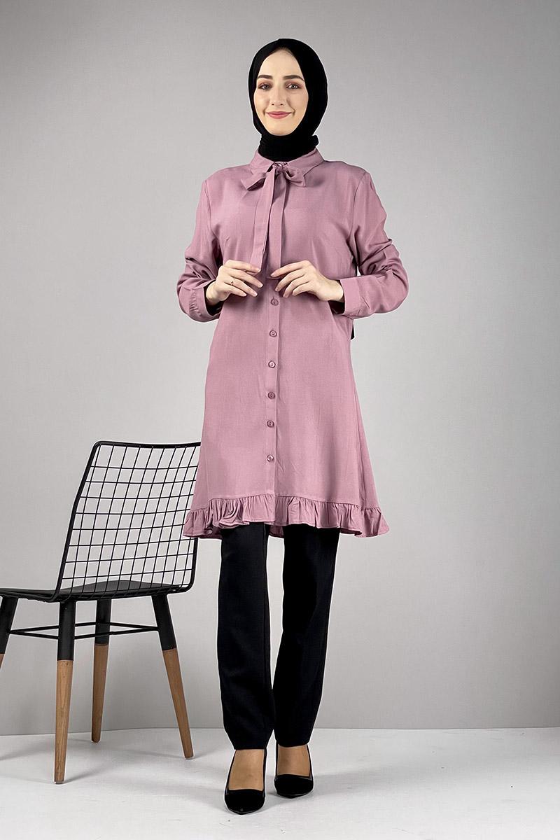 Moda Pinhan - Fırfırlı Tunik Gül Kurusu (1)